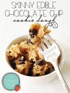 Skinny Edible Chocolate Chip Cookie Dough (Whole Wheat) —That's right! Cookie dough that is meant to be eaten!