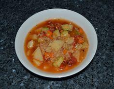 Peruvian Quinoa Soup.  This delicious recipe can be found at: http://veggiechica.com/2014/03/19/peruvian-quinoa-soup/
