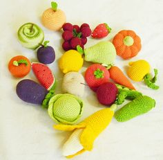 Crochet play food set (20 pcs) Crochet vegetables and fruits Ready to ship Montessori toys for toddlers Kitchen decor Toy veggies (68.00 USD) by RainbowHappiness