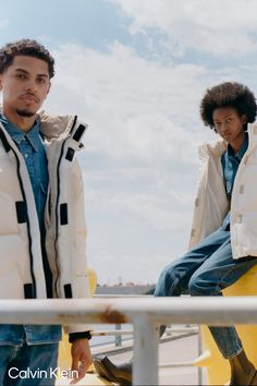 Coats, jackets and puffers. Toni Smith and Delfin by Tyler Mitchell. #MYCALVINS Shop outerwear at calvinklein.com Jeans Jumpsuit, Romper Pants, Calvin Klein Presents, My Calvins, Blouse Outfit, Recycled Fabric, Calvin Klein Jeans, Outerwear Women, Puffer Jackets