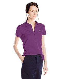 Lacoste Women's Short Sleeve Stretch Pique Slim Fit Polo Shirt, Boehme Purple, 38 - http://www.darrenblogs.com/2016/10/lacoste-womens-short-sleeve-stretch-pique-slim-fit-polo-shirt-boehme-purple-38/