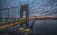 Download wallpapers George Washington Bridge, Hudson River, Manhattan, Fort Lee, winter, evening, city lights, New York, USA, skyscrapers