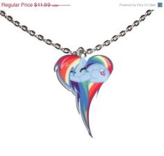 Kawaii Rainbow Dash Necklace, My Little Pony Friendship is Magic Rainbow Dash Party, Pony Party, My Little Pony Friendship, Rainbow Heart, Heart Shaped Necklace, Chain Necklaces, Chain Pendants, Little Sisters, Heart Jewelry