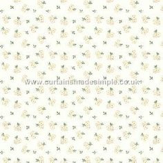 Llanstephan (Linen Union) - 2 - Linen fabric featuring a subtle floral print of tiny cream flowers with green leaves against a white background