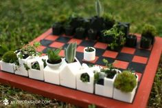 Which brings us to their offspring: The mini planter chess set. | This Mini Planter Chess Set Is The Absolute Cutest