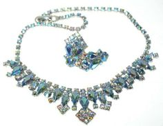 1960s Vintage Costume Jewelry Signed Keyes Faux Alexandrite Necklace & Earrings Demi
