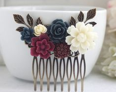 Wedding Hair Comb Burgundy Ivory Maroon and Navy Blue by Marolsha