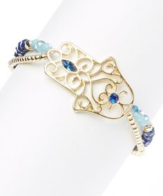 This Gold & Sapphire Hamsa Stretch Bracelet by LCO Jewelry is perfect! #zulilyfinds