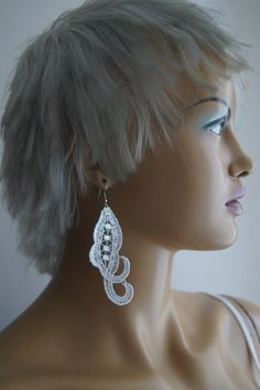 EARRINGS // White crystal and Lace Floral Earrings/ by ilkcanArt