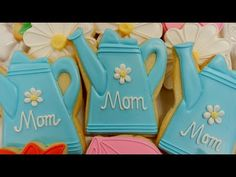 How to decorate this watering can cookie design. I hope all the Moms enjoy this cookie decorating video. Thanks for sprinkling the world with your love! Mother's Day Cookies, Summer Cookies, Holiday Cookies, Cupcake Cookies, Tree Cookies, Cupcakes, Iced Sugar Cookies, Sugar Cookie Frosting, Cookie Cake Decorations