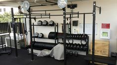 A nice garage gym with all the basics
