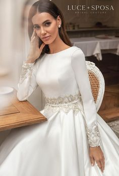 Hijab Wedding Dresses, Wedding Dress Trends, Wedding Dress Sleeves, Long Sleeve Wedding, Dream Wedding Dresses, Bridal Dresses, Winter Wedding Dresses, Royal Wedding Gowns, Summer Wedding Attire