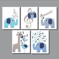 Musical Elephant Owl Nursery Artwork Print by 3000yardsofthread, $70.00