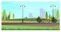 Summer city park with street lights. Illustration can be used for topics like leisure, nature, environment , Web Banner, Banners, Creative Powerpoint Presentations, Powerpoint Free, Cartoon Background, Animation Background, Vector Background, Banner Design, Creative Flyers