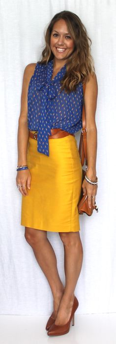 J's Everyday Fashion provides outfit ideas, budget fashion, shopping on a budget, personal style inspiration, and tips on what to wear. Mustard Skirt, Mustard Jeans, Summer Outfits, Cute Outfits, Summer Clothes, Js Everyday Fashion, Work Fashion, Office Fashion, Curvy Fashion