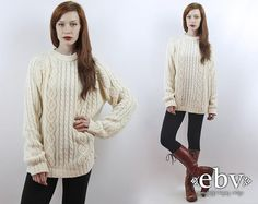 #Vintage #70s Cream Cable #Knit Oversized #Sweater, fits S/M/L by #shopEBV http://etsy.me/187Eu4d via @Etsy #etsy #fashion #style #jumper