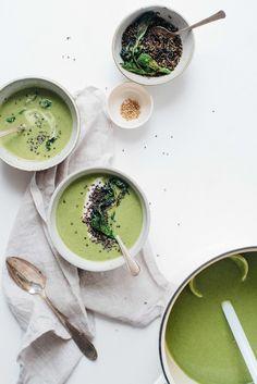 creamy broccoli rabe soup w/ crispy quinoa + yogurt