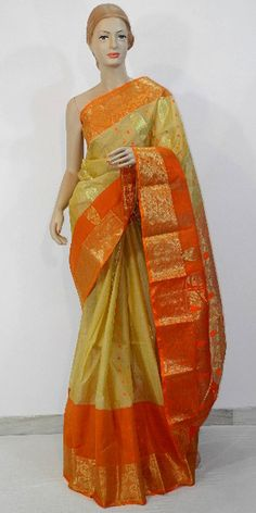 Designer Tussar Silk Saree (Muslin Silk) is made from high quality of raw material which ensures quality as well as durability. This designer collection is handpicked from Kolkata (WB). It is latest, designer, high quality saree embellished with all-over golden zari along pallu and border.  To buy online : http://www.maanacreation.com/product-view/?id=1387
