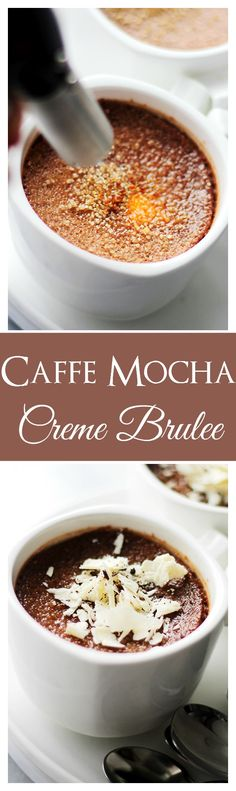 Caffe Mocha Creme Brulee - this amazing creme brulee is like your Starbucks Caffe Mocha, but in dessert form! Chocolate Creme Brulee, Decadent Chocolate, Best Chocolate, Chocolate Desserts, Chocolate Cream, Chocolate Coffee, Fancy Desserts, Just Desserts, Pudding Desserts