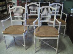 4 FRENCH COUNTRY RUSH SEAT CHAIRS $320