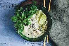Cambodian noodle soup with tofu & lemongrass. Replace honey with agave to make a vegan nom