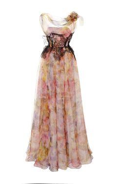 Pastel Floral Print Gown by Marchesa - Moda Operandi