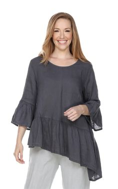 Match Point women's Sleeve with Ruffle is a short sleeve ruffled collared button up tunic with pleated sleeve details in linen available at FLAXgirl. Womens Linen Clothing, Point Light, Match Point, Beautiful Girl Photo, Ruffle Top, Girl Photos, Fashion Dresses, Feminine, Tunic Tops