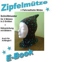 """""""E-Book"""" Zipfelmütze und Fahrradhelm Mütze  von Kleine-Kreativbox auf DaWanda.com"""