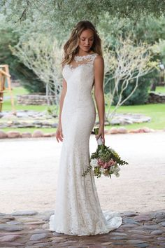 Sweetheart Gowns - Style 1148: Floral Lace Fit and Flare Gown with Sabrina Neckline
