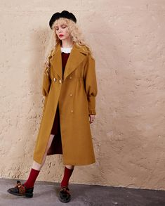 9ab777d934ed3 Elf sack woolen coat · ✪MATERIAL - The Women Solid Color Classic Wool Pea  Coat is made of 80.8%
