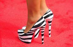 Zebra striped heels.