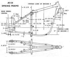 1953 Plunger Frame bluprint w/ measurements Custom Bobber, Custom Choppers, Custom Motorcycles, Custom Bikes, Chopper Motorcycle, Bobber Chopper, Motorcycle Shop, Motorcycle Design, Chopper Frames