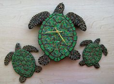 Sea Turtle Trio Clock & Wall Pieces in Green by MysticDreamerArt, $180.00