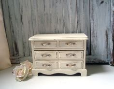 Cream Vintage Jewelry Box Shabby Chic by WillowsEndCottage on Etsy