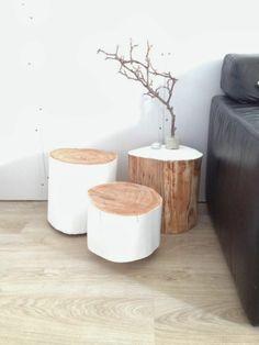 massivholz Couchtische weiß bemalt Baumstamm