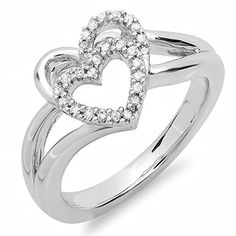 0.15 Carat (ctw) Sterling Silver Round White Diamond Ladies Promise Double Heart Love Engagement Ring * Awesome jewelry. Click the image : Engagement Ring