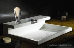 Contemporary Bathroom Sink with Self-Cleaning Soap Dish. #contemporary #bathroom #sink #self #cleaning #soap #dish