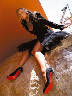 I've wanted these sexy black louboutins forever. I love love love the red underneath. Black Louboutins, Red Louboutin, Emma Bunton, Baby Spice, Red Sole, Spice Girls, Queen, Her Style, Christian Louboutin
