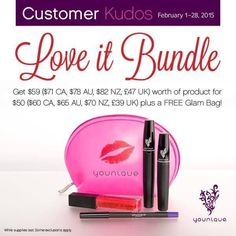 Perfect Valentines GIFT wrapped up in an adorable FREE GLAM BAG!!! Order our limited edition LVE it Bundle today!!  Get $59 worth of product for $50 plus a FREE Glam Bag!  Moodstruck 3D Fiber Lashes Passionate Eye Liner Lovesick Lip Gloss.  ash #younique #valentinesday #valentine #lashlove #lashes #eyelash #gift #girls #mascara #makeupaddict #makeup #freemakeup #Superbowl #pink #makeup  #lipgloss #chicagoblizzard