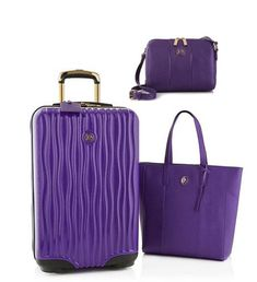JOY Metallic Set E*Lite Medium Hardside Luggage, Leather Tote & CROSSBODY PURPLE #JOYMANGANO