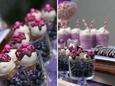Purple wedding dessert