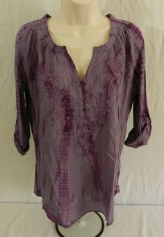 NWT Vintage America Tyrian Purple Liliana Sheer Womens Top Blouse Shirt Size XXL #VintageAmerica #Blouse #Casual