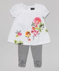 Look at this #zulilyfind! White Blossom Tunic & Leggings - Infant by GUESS #zulilyfinds