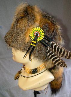Mountain Man Prairie Fox fur Hat FCF Black Powder Rendezvous Buckskinner Powwow