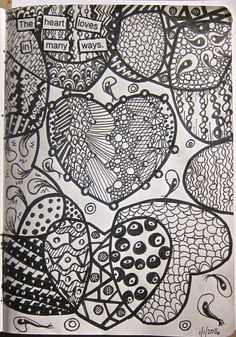 """Intersecting hearts that I doodled with many patterns--""""The heart loves in many ways"""""""