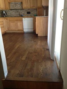 Red Oak floor stained Minwax dark walnut.
