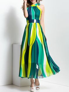 Beach Sleeveless A-line Color-block Maxi Dress