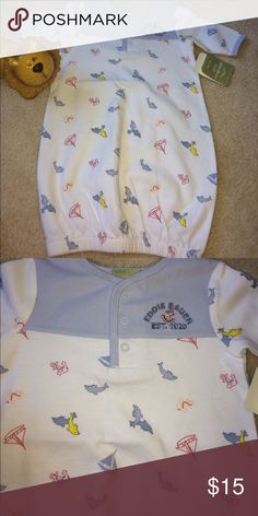 """New Eddie Bauer Cotton Layette Baby boy Gown New Eddie Bauer Cotton Dolphins Layette Baby boy Gown. One size Size-Newborn (up to 23""""/ up to 12 lbs.) Perfect for the little blessing in you life!  Soft cotton layette gown   Elastic opening at bottom for easy dressing. Sold out Eddie Bauer Pajamas Nightgowns"""