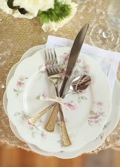 Utensils hand-dipped in gold paint and glitter | J. Woodbery Photography | http://burnettsboards.com/2013/12/french-cafe-styled-shoot/