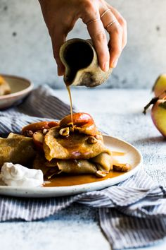 Hazelnut Butter Crêpes + Maple Cinnamon Roasted Apples {vegan} | The Floured Kitchen